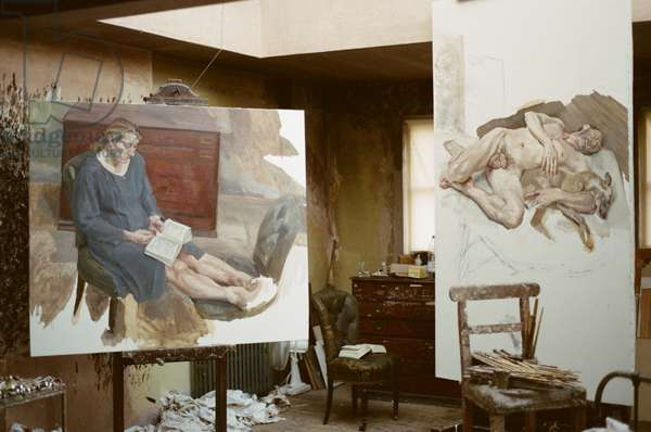 Lucian Freud's 'Interior Ib Reading' (1997) and 'Sunny Morning - Eight Legs' (1997), Holland Park Studio, 1996 (photo)