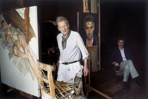 Freud with Martin Gayford, 2005 (photo)