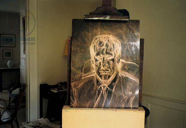 Interior of Lucian Freud's studio with copper etching plate - 'Head of an Irishman', 1999 (photo)