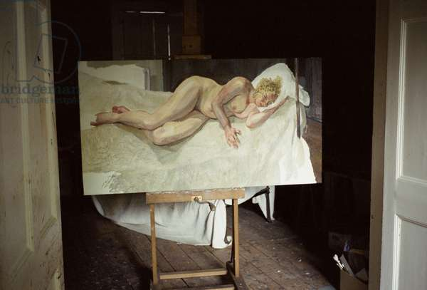 Interior of Lucian Freud's studio with 'Ria, Naked Portrait', 2006-07 (photo)