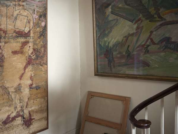 Interior of Lucian Freud's studio with Frank Auerbach's 'Tree on Primrose Hill' (1986-86), 2011 (photo)