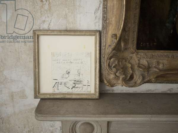 Interior of Lucian Freud's studio with B=birthday card from Frank Auerbach, 2011 (photo)