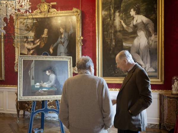 Lucian Freud admiring Chardin's 'Boy Building a House of Cards' (1735), with Jacob Rothschild, Waddesdon Manor, Buckinghamshire, 2011 (photo)