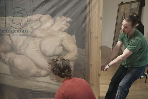 Installation of 'Benefits Supervisor Resting' (1994) for Lucian Freud's posthumous exhibition, National Portrait Gallery, London, February 2012 (photo)