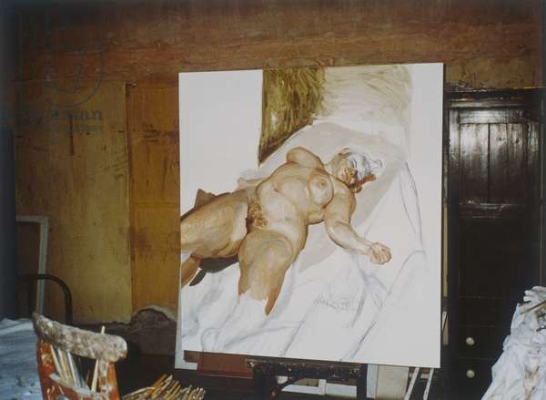 Interior of Lucian Freud's studio with 'Naked Portrait with Green Chair', 1999 (photo)