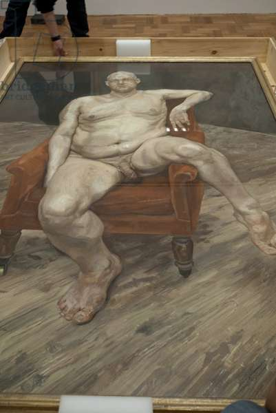 Installation of 'Leigh Bowery (seated)' (1990) for Lucian Freud's posthumous exhibition, National Portrait Gallery, London, February 2012 (photo)