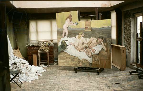 Interior of Lucian Freud's studio with 'After Cezanne', 2000 (photo)