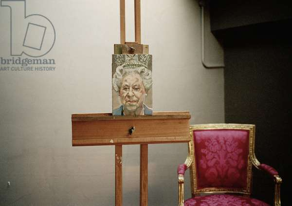 Interior of Lucian Freud's studio with 'H. M. Queen Elizabeth II', 2001 (photo)