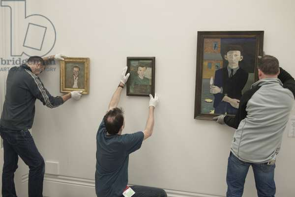 Installation of paintings for Lucian Freud's posthumous exhibition, National Portrait Gallery, London, February 2012 (photo)