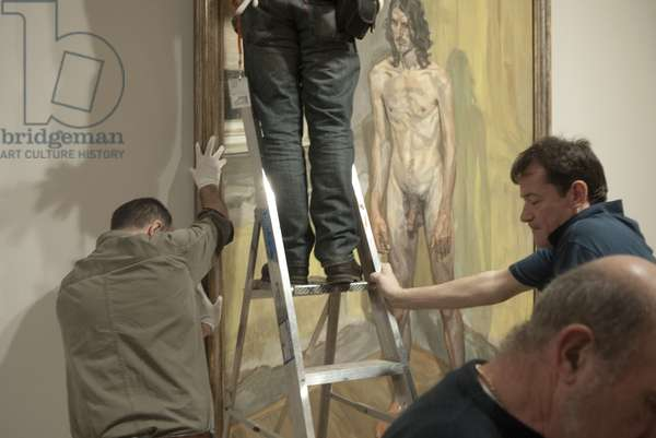Installation of 'Freddy Standing' (2000-01) for Lucian Freud's posthumous exhibition, National Portrait Gallery, London, February 2012 (photo)