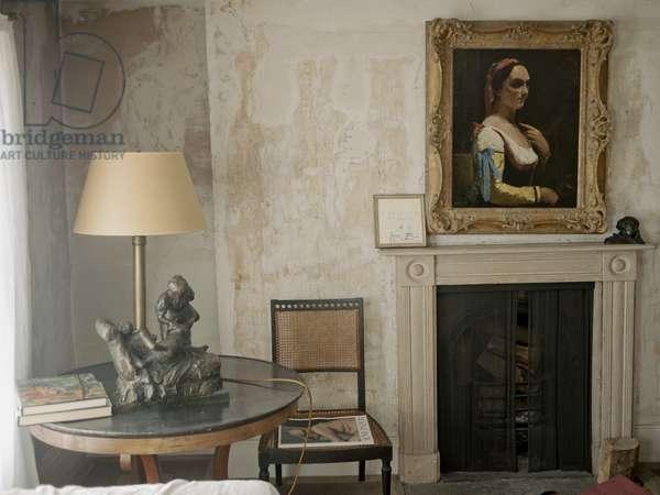 Interior of Lucian Freud's studio with Courbet's 'L'Italienne ou la Femme a la Manche Jaune' (c.1870), and Degas' 'La Masseuse' (cast prior to 1926), 2011 (photo)