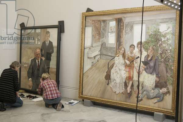 Hanging of Lucian Freud's 'Two Irishmen, W11' (1984-85), and 'Large Interior, W11 (after Watteau)' (1981-83), 2012 (photo)