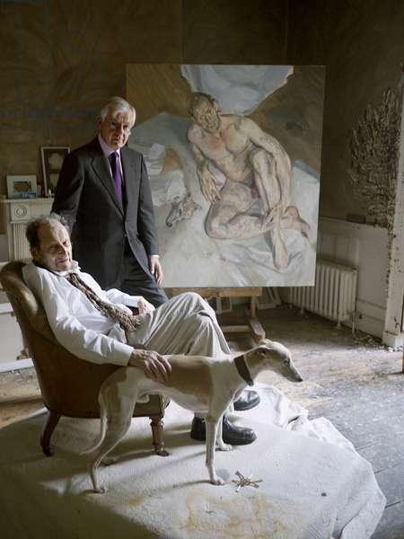 Lucian Freud and William Acquavella with Eli, 2011 (photo)