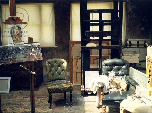 Interior of Lucian Freud's studio with 'Robert Fellowes', 1999 (photo)