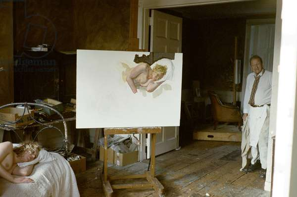 Lucian Freud with 'Ria, Naked Portrait', 2006-07 (photo)