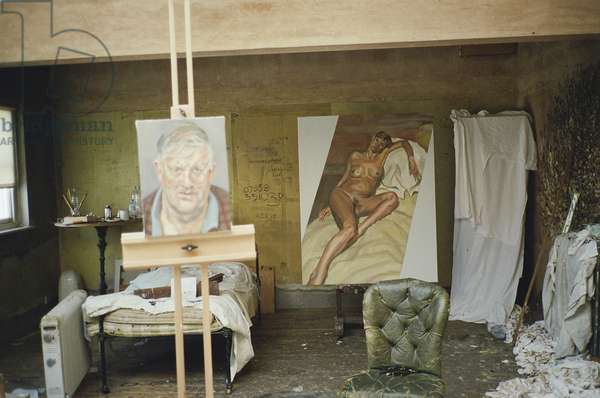 Interior of Lucian Freud's studio with 'David Hockney' and 'Naked Portrait', 2002 (photo)
