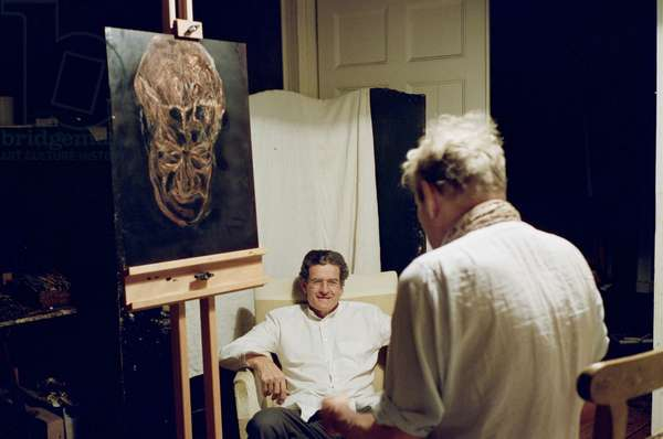 Lucian Freud at work on a copper etching plate, 'The Painter's Doctor', 2005-06 (photo)