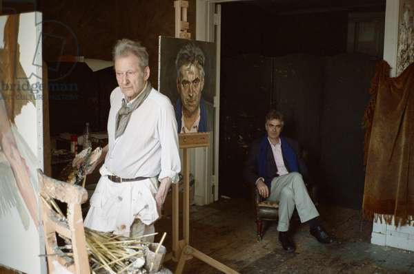 Lucian Freud at work on 'Man in a Blue Scarf', 2004 (photo)
