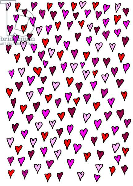Colour hearts white background