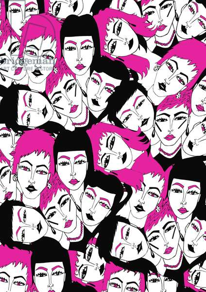 Pink, Black, white Faces