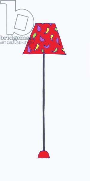 Standing Lamp Red Shade