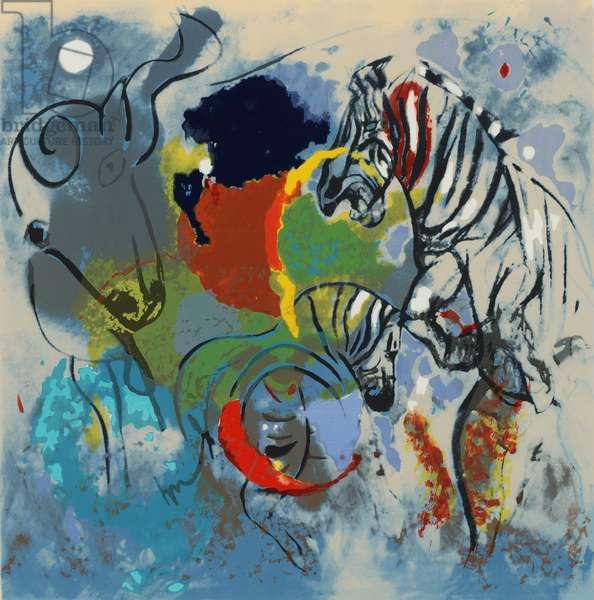 Zebras, 1988 (screen print)