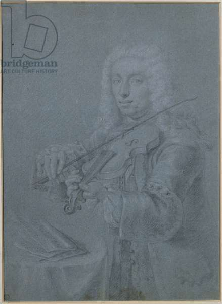 Portrait of Francesco Veracini (1690-1768), Italian violinist (pencil and chalk)