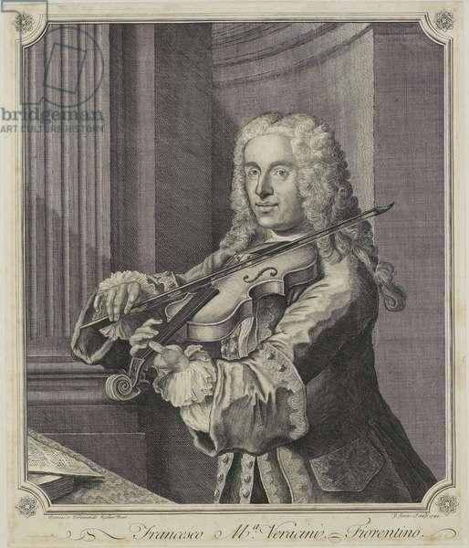 Francesco Ma Veracini, engraved by J. June (fl.c.1740-70), 1744 (engraving)