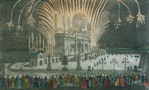 Fireworks in Green Park to celebrate the signing of the Treaty of Paris in 1763 (engraving)