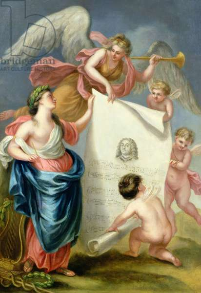 Allegorical study for a memorial print of Handel (oil on canvas)