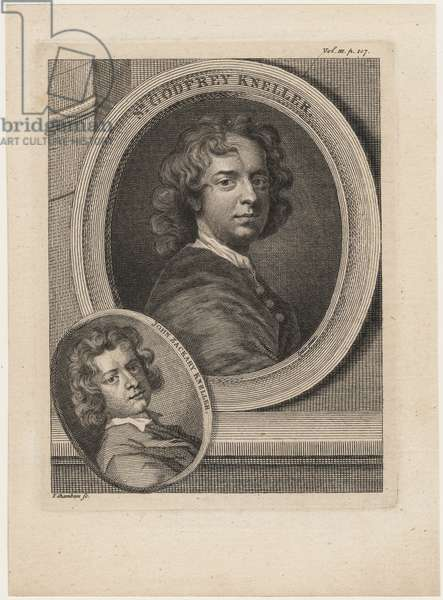 Godfrey Kneller, from 'Anecdotes of Painting' by Horace Walpole, engraved by Thomas Chambars (1724-89), c.1770 (engraving)