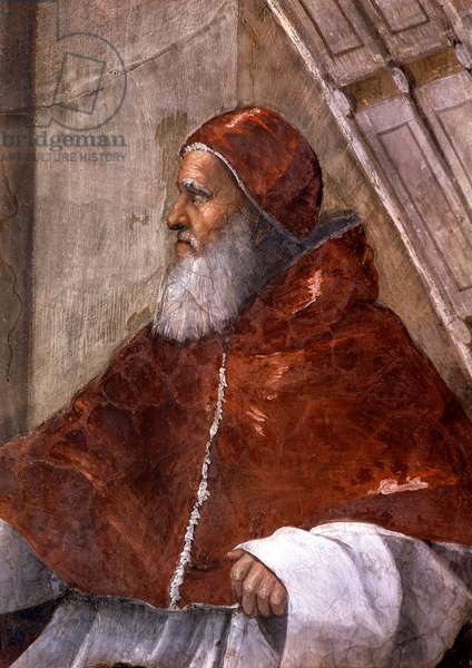 Detail of the room of Eliodore in the Vatican City depicting Pope Julius II. Fresco by Raphael (Raffaello Sanzio) (1483 - 1520). Chamber of Signature (Segnatura). Vatican, clttà del vaticano, monumenti, musei e gallerie pontefici.