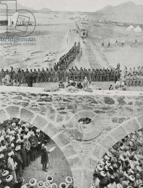 Engineer Mouktar Bey holding the inaugural speech of the Hegiaz railway, Medina, Saudi Arabia, photo by Gervais-Courtellemont from L'Illustration, No 3423, October 3, 1908