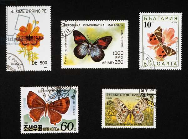 Diadem butterfly (Hypolimnas sp), 1993, Sao Tome and Principe, Pereute leucodrosime, 1992, Madagascar, Jersey tiger moth (Panaxia quadripunctaria), 1990, Bulgaria, Thecla belulae, 1991, North Korea, Parnassius tianschianicus, 1995, Uzbekistan
