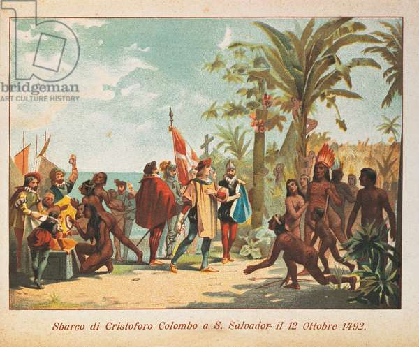 Landing of Christopher Columbus on the island of San Salvador on October 12, 1492, colored illustration, 19th century