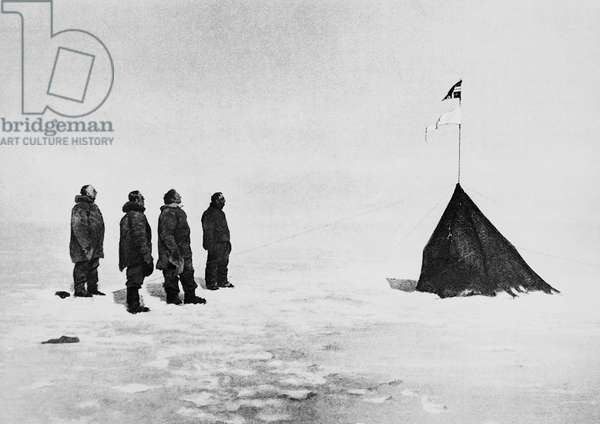 Roald Amundsen, Helmer Hanssen, Sverre Hassel and Oscar Wisting in front of the tent erected at the South Pole, December 16, 1911, photograph by Olav Bjaaland