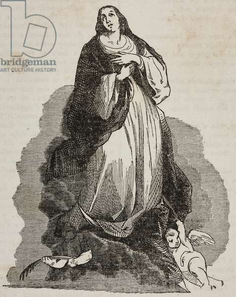 Ascent to heaven of Mary, after painting by Bartolome Esteban Murillo, illustration from Teatro universale, Raccolta enciclopedica e scenografica, No 526, August 10, 1844