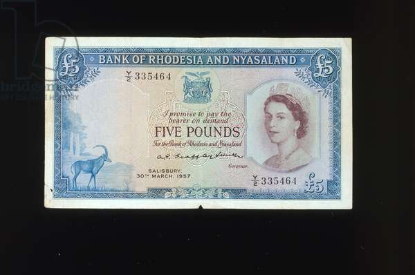 Bank of Rhodesia and Nyasaland five pound banknote, 1957 (colour litho)