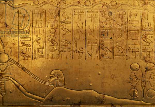 Human figure, relief on right outer panel of second funeral chapel, Treasury of Tutankhamun, Egypt, Egyptian civilization, New Kingdom, Dynasty XVIII