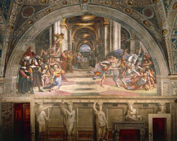 The expulsion of Heliodorus from the Temple, 1511-1512, by Raphael (1483-1520), fresco, Room of Heliodorus, Apostolic Palace, Vatican City