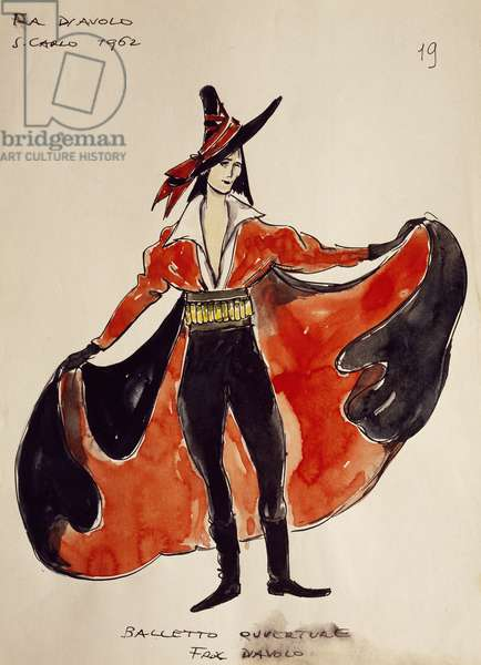 Costume sketch for Fra Diavolo in homonymous opera (1830), by Daniel Francois Auber, 1962