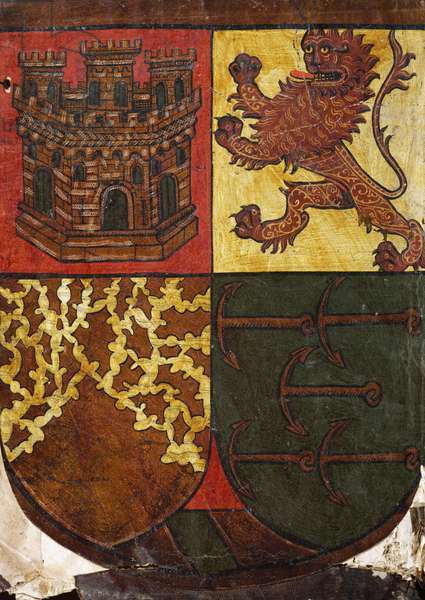 Christopher Columbus' coat of arms, 15th century, drawing