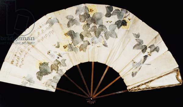 Fan which belonged to Yvonne Lerolle, daughter of painter Henry Lerolle, with dedication to Claude Debussy (1862-1918) and musical notes from Pelleas et Melisande
