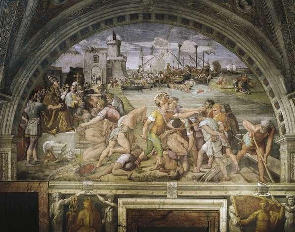 Fanlight, frescoed by Raffaello Sanzio (1483-1520) and followers, depicting the battle of Ostia, Stanza dell'Incendio di Borgo (1514-1517), Rafael Rooms, Vatican Palace, Vatican City.