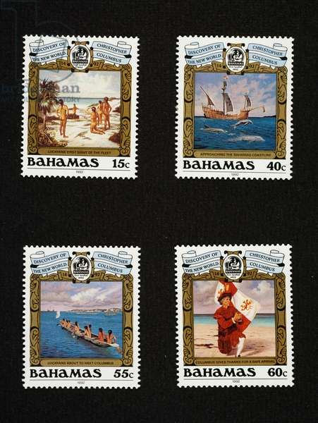 Postage stamps from series commemorating 500th anniversary of Christopher Columbus' landing, 1992, native islanders catching sight of caravels, caravel nearing coast, natives paddling towards caravels, Columbus disembarking, Bahamas