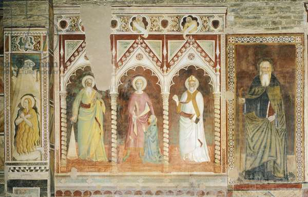 Theory of Saints, by Spinello Aretino (ca 1350-1410). San Miniato al Monte (St Minias on the Mountain Basilica), Florence. Italy, 14th-15th century.