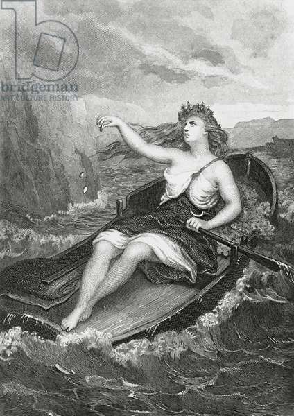 Cymodoce miraculously reaching shores of Italy, illustration for Martyrs, prose epic by Francois-Rene, vicomte de Chateaubriand (1768-1848), engraving after drawing by Pierre Gustave Eugene Staal (1817-1882), from Parisian edition published in 1859