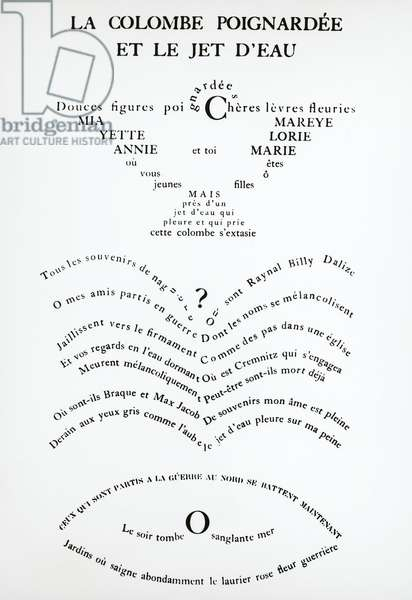 Pages from Caligrammes by Guillaume Apollinaire (1880-1918)