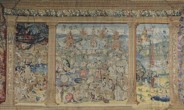 Paradise, Purgatory and Inferno (Hell), 16th century tapestry, manufacture of Brussels, from work by Hieronymus Bosch.