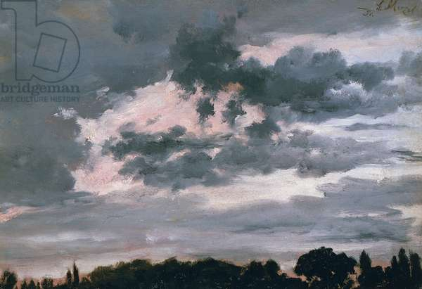 Study of clouds (Wolkenstudie), 1851, by Adolph Menzel (1815-1905), oil on canvas, 40x28 cm.